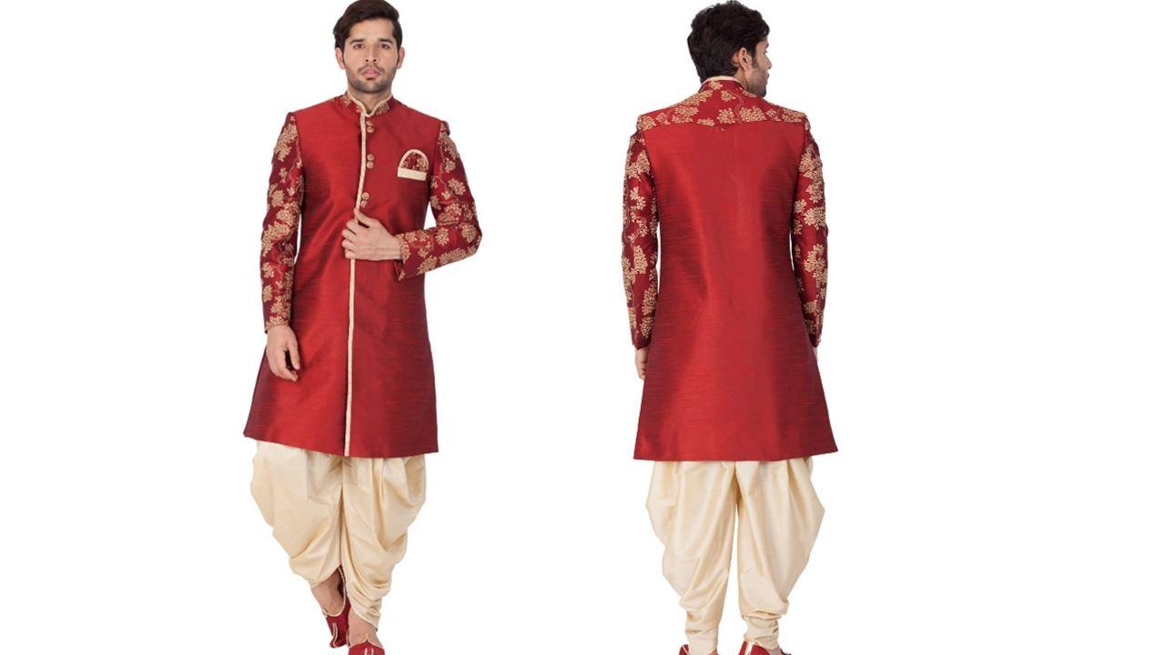Vastramay Men Silk Blend Sherwani Set